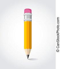 dos, crayon, école, jaune