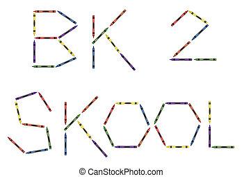 dos, former, crayons, coloré, école