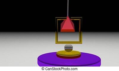 dos, forth, mouvement, coloré, pendule, pyramide, fond, vitreux