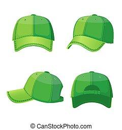 dos, isolé, casquettes, base-ball, devant, blanc, vue côté