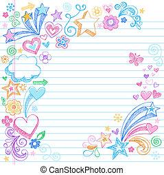 dos, sketchy, école, doodles