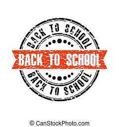 dos, timbre, vendange, école, rond, grunge, ruban, rouges