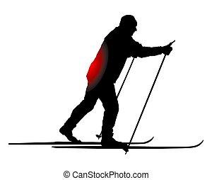 dos, transnational, douleur, skieur