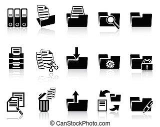dossier, ensemble, noir, icônes
