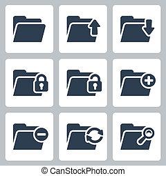dossier, vecteur, ensemble, isolé, icônes