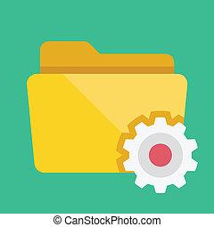 dossier, vecteur, paramètres, icône