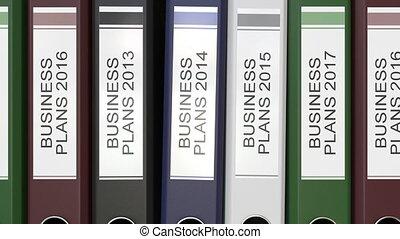 dossiers, différent, multiple, bureau, business, texte, plans, étiquettes, années, rendre, 3d