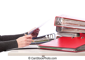 dossiers, femme, vieux, -, isolé, main, stylo, documents, tas
