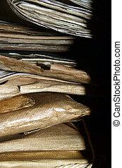dossiers, fichiers, vieux, pile