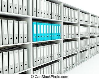 dossiers, série, bleu, shelf., gris