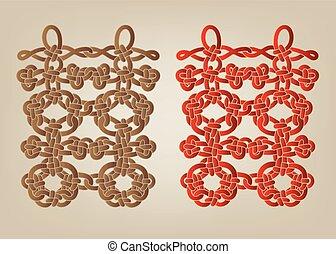 double, bonheur, chinois, noeud