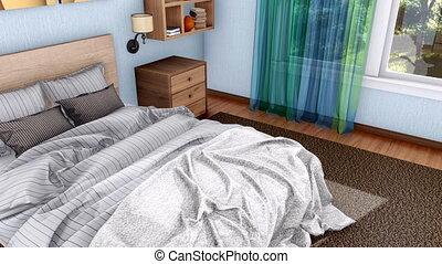 double, moderne, lit, chambre à coucher, intérieur, 3d