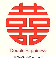 double, symbole, chinois, bonheur