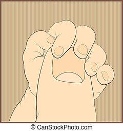 doucement, main, adulte, doigt, tenant bébé