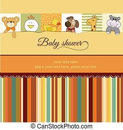 douche bébé, carte, annonce