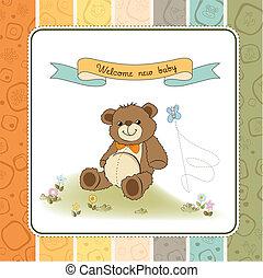 douche, mignon, bébé, carte, teddy