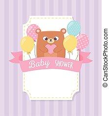 douche, ours, bébé, ballons, teddy, fond