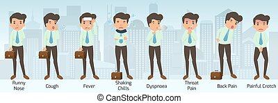 douleur, dyspnoea, maladie, douloureux, nez, liquide, avoir, pose., froids, dos, vecteur, toux, symptômes, illustration., entrecuisse, homme affaires, secousse, fièvre, gorge, divers, maladie