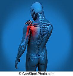 douleur, figure, numérique, épaule