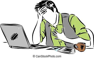 douleur, fonctionnement, illustration, vecteur, devant, informatique, homme