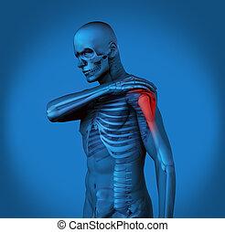 douleur, h, épaule, bleu, mis valeur