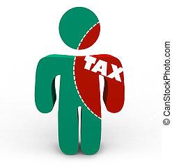 douleur, impôt, -, impôts, personne, coupure