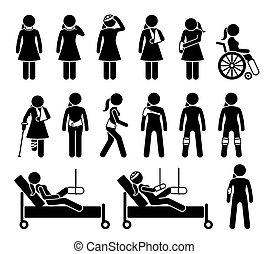douleur, monde médical, accident., orthopédie, corps, soutien, dû, produits, blessure