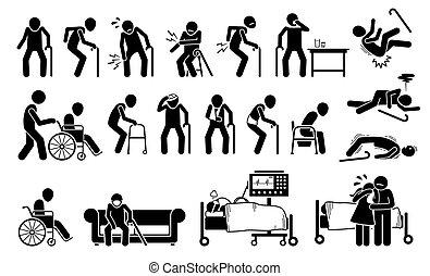 douleur, pain., blessé, corps, homme, vieux, jointure