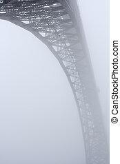 douro, pont, brume, vieux, rivière