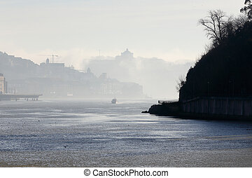 douro, rivière, brume, matin