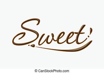 doux, chocolat, texte
