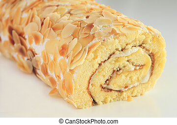 doux, gâteau, rouleau, isolé, blanc