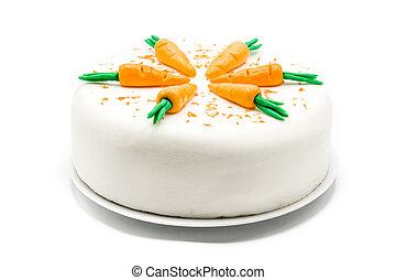 doux, isolé, carotte, fond, gâteau, blanc