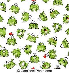 doux, modèle, grenouilles, seamless