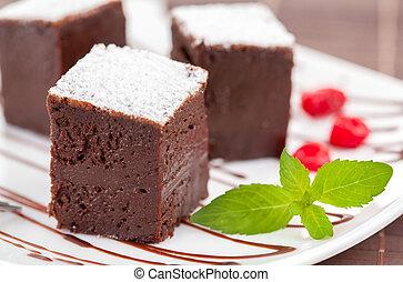 doux, ou, gâteaux, chocolat, fantaisie, brownies