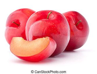 doux, prune, coupure, fond, isolé, blanc