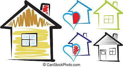 doux, -, silhouette, maison, maison