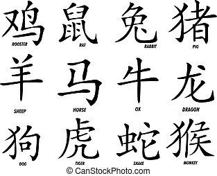 douze, zodiaque, chinois, signes