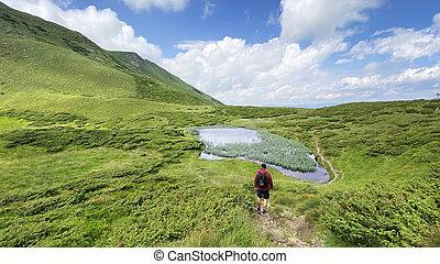 dragobrat, carpathian, regarder, lac, montagne, montagnes, homme