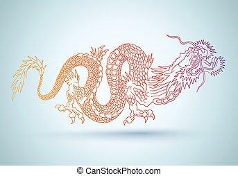 dragon., chinois, coloré