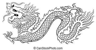 dragon, chinois, ramper