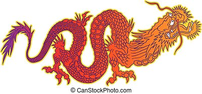 dragon., coloré, chinois
