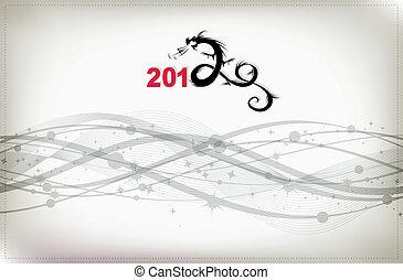 dragon, conception, fond, année, célébration, ton, 2012