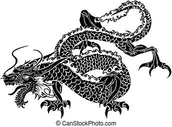 dragon, japonaise, illustration