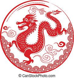 dragon, nouveau, chinois, année