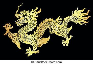dragon, or, chinois, ramper