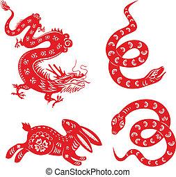 dragon, rabbit., serpent