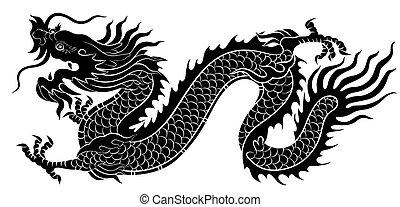 dragon, silhouette, chinois, ramper