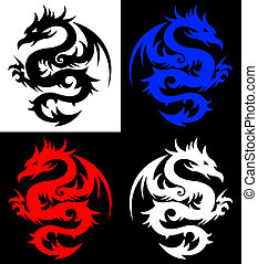 dragon, tatouage, tribal