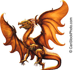 dragon., vecteur, moyen-âge
